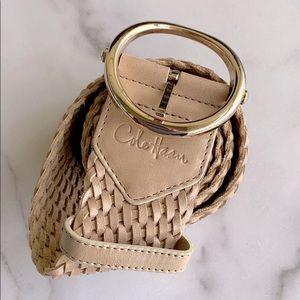 Cole Haan Light Tan Leather Boho Woven Belt Sz L